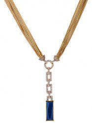Multilayered Chain Faux Sapphire Cut Out Rhinestone Geo Necklace