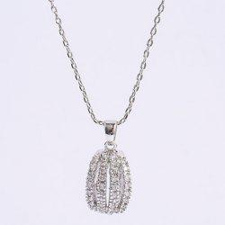 Rhinestone Curved Alloy Pendant Necklace -