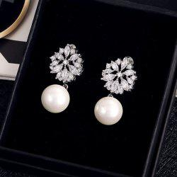 Pair of Faux Pearl Cut Out Rhinestone Floral Earrings