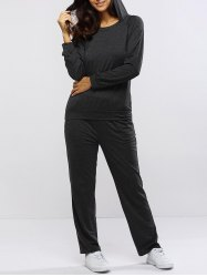 Pure Color Hoodie and Loose Fitting Sport Pants Set - GRAY