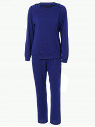 Pure Color Hoodie and Loose Fitting Sport Pants Set