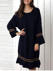 Loose Fitting Striped Flounce Sweater Dress -