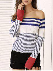 Off-The-Shoulder Striped Knitted Top -
