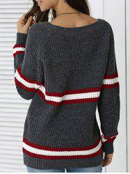 Striped Hit Color Pullover Sweater - DEEP GRAY