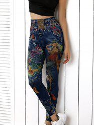 High Waist Butterfly Print Skinny Pants