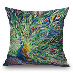 Handpainted Unfolded Tail Peacock Printed Pillow Case - GREEN