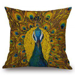 Unfolded Tail Peacock Painting Pillow Case -