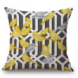 Handpainted Birds and Fence Pattern Pillow Case - BLACK GREY