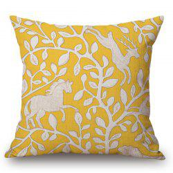 Handpainted Horse Deer Leaf Pattern Pillow Case - YELLOW