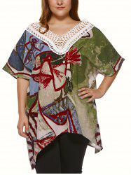 Plus Size Vintage Tribal Print Lace Spliced Asymmetric Blouse -