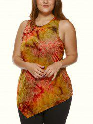 Plus Size Abstract Printed Asymmetric Tank Top - COLORMIX
