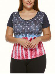 Plus Size Star Print Striped T-Shirt