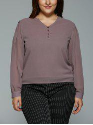 Plus Size V Neck High Low Buttoned Blouse