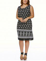 Plus Size Vintage Tribal Print Dress - Noir