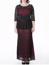 Plus Size Peplum Full Lace Prom Dress