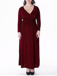 Plus Size V Neck Long Sleeve Prom Maxi Dress - WINE RED 6XL