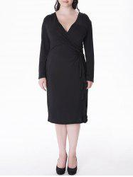 Plus Size Flounce Long Sleeve Sheath Wrap Dress