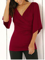Slit de Bell Sleeve Wrap Plunge Neck Slimming Blouse - Rouge Vineux