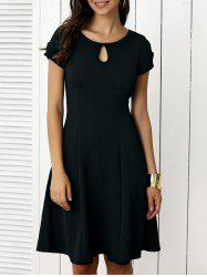 Keyhole Short Sleeve Cut Out Fit and Flare Dress -
