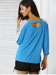V-Neck Lace Applique Cut Out Blouse -