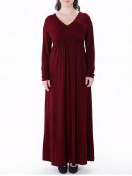 Plus Size V Neck Long Sleeve Maxi Dress - WINE RED 6XL