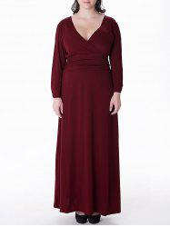 Plus Size Long Surplice Formal Dress with Sleeves - WINE RED XL