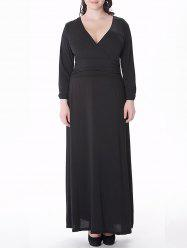Plus Size Long Sleeve V Neck Maxi Prom Dress