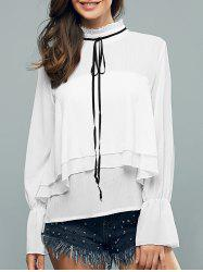 Ruffled Collar Flounce Long Sleeve Blouse -