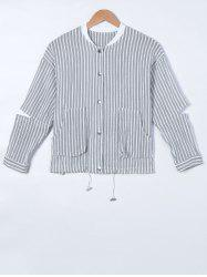 Ripped Long Sleeve Striped Jacket -