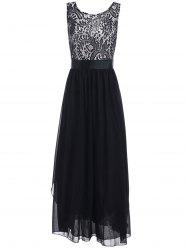 Lace Panel Chiffon Long Evening Prom Dress - BLACK