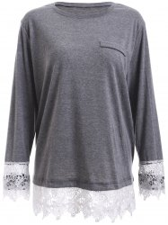 Plus Size Lace Splicing Long Sleeve T-Shirt -