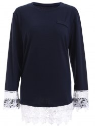 Plus Size Lace Splicing Long Sleeve T-Shirt