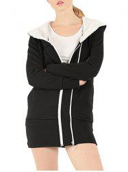 Zipper Embellished Long Sleeve Hoodie - BLACK