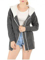 Zipper Embellished Long Sleeve Hoodie - DEEP GRAY