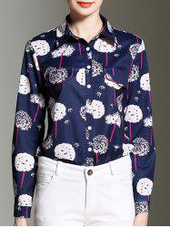 Shirt Collar Dandelion Print Button Design Shirt