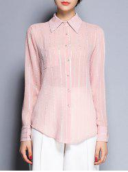 Shirt Collar See-Through Striped Pocket Design Shirt