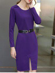 Scoop Neck Furcal Slimming Pocket Design Dress