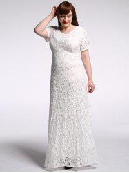 Floor Length Lace Floral Maxi Prom Dress - WHITE 9XL