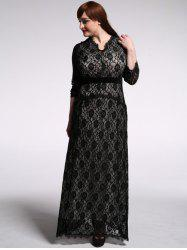 Plus Slze Lace Long Sleeve Maxi Formal Dress