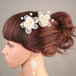 Wedding Bride Artificial Pearl Headdress Flower Hairpin -