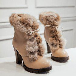 Faux Fur Lace-Up Design Ankle Boots - KHAKI