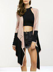 Irregular Long Sleeve Collarless Cardigan