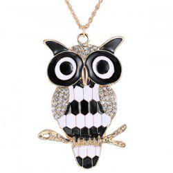 Rhinestone Owl Branch Glazed Pendant Sweater Chain