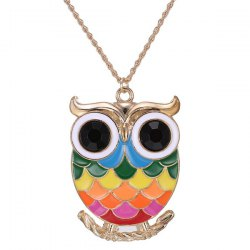 Owl Branch Glaze Pendant Sweater Chain