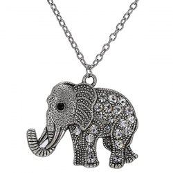 Rhinestoned Engraved Elephant Pendant Sweater Chain -