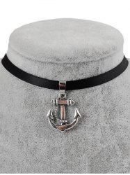 PU Leather Anchor Pendant Choker -