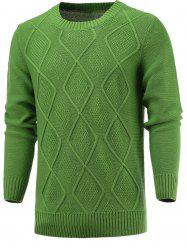 Geometric Knitted Long Sleeve Sweater - GRASS GREEN