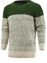 Spliced Geometric Knitted Long Sleeve Sweater - DEEP GREEN