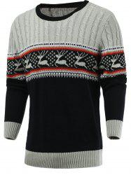 Color Blocks Spliced Elk Knitted Sweater - GRAY