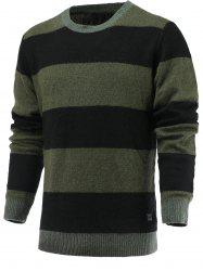 Color Blocks Spliced Sweater - GREEN